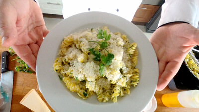 Garlic, Rapeseed Oil Pasta, Grated Parmesan and Chopped Parsley Recipe