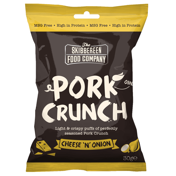Pork Crunch Cheese and Onion - Front of packaging